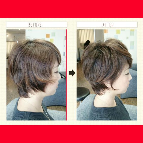 癖のある髪のショート