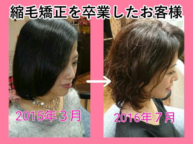 縮毛矯正卒業before&after写真
