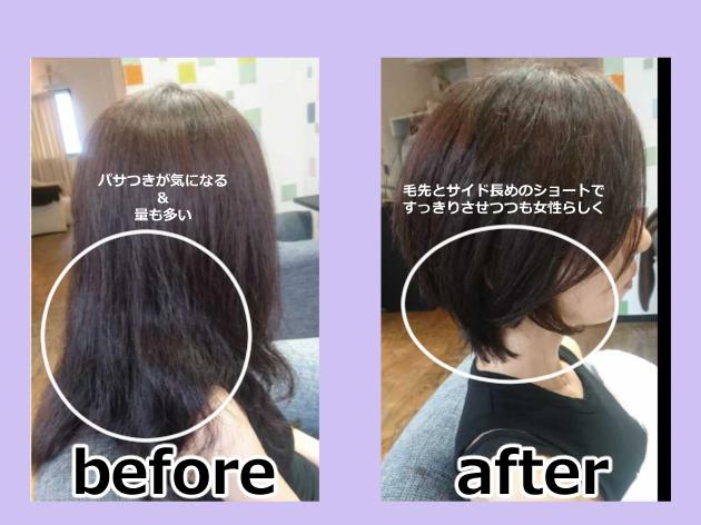 量が多くパサパサする髪もすっきりショートに